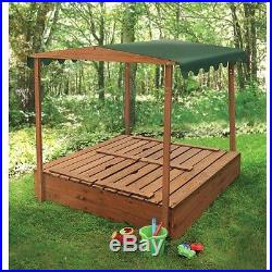 Outdoor Rectangular Sandbox Covered Canopy Convertible Bench Seat Play Kids Wood