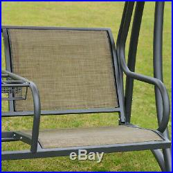 Outsunny 2 Seat Covered Outdoor Patio Swing Chair Bench with Canopy with Stand