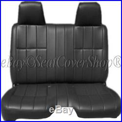 Pickup Thick Black PU Leather Bench Seat Cover Large Notched Cushion Custom Fit