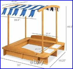 Sandbox with Cover Wooden Frame for Kids Backyard Fun Toys Seat Bench Buckets US