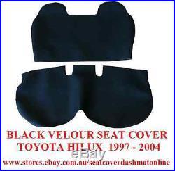 Seat Cover Toyota Hilux Single Cab Bench, 1997 2004, Plain Black Velour