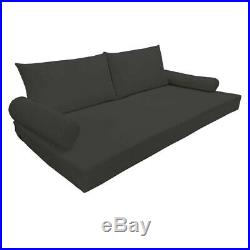 Set 5 Pc Black Full Size Mattress Pillows 75x53x6 Seat Cushion Cover In/Out Door