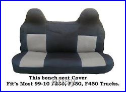 Solid Gray Mesh Fabric Bench seat cover Fit Ford F-250, F-350, F-450 99-08 Truck's