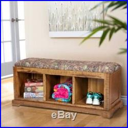Solid Wood hall Bench with True Timber Camouflage Covered Cushioned Seat
