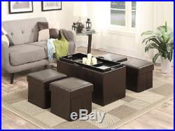 Storage Bench With Ottomans Seating Set Tray Lid Cover Faux Leather 5pc Seats 4