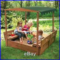 Toddler Convertible Wood Cedar Canopy Sandbox Kid Double Bench Seat Basket Cover