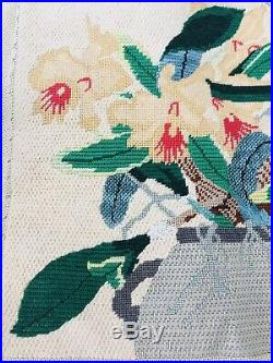 Vintage Needlepoint Petit Point Bench Seat Cover Orchids Floral 29 X 17