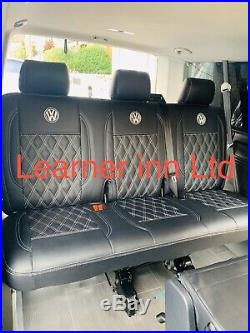 Vw Transporter T5, T6 1+1 Front And Triple Bench Leatherette Seat Cover With Logo