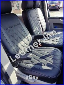 Vw Transporter T5, T6 1+2 Front And Triple Rare Bench Leatherette Seat Cover