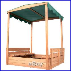 Wood Canopy Sandbox With Covered Bench Seats Kids Play Sand for Sand Box Toys
