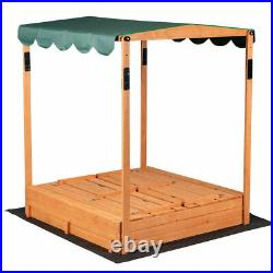 Wood Convertible Canopy Sandbox with Covered Bench Seats Kids Play Sand Box Toys