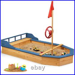 Wooden Pirate Sandboat Covered Sandboxes Outdoor With Bench Seat Children Toy Gift