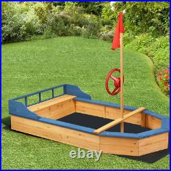 Wooden Pirate Sandboat Covered Sandboxes WithBench Seat