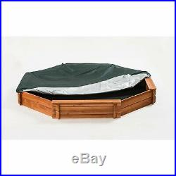 Wooden Sandbox Childrens Outdoor Backyard Play Octagon with Bench Seat and Cover